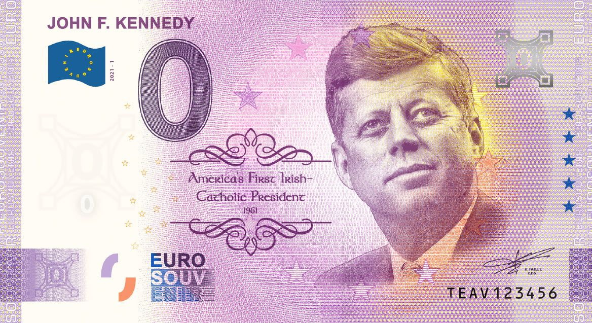 John F. Kennedy commemorative 0 Euro bill