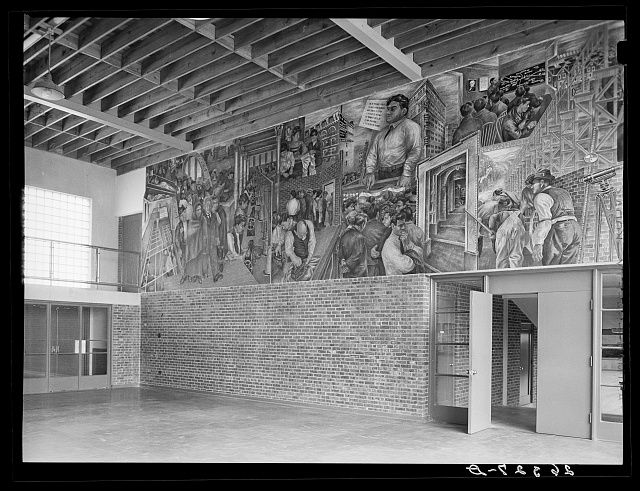 Mural painted by Ben Shahn at the community building. Hightstown, New Jersey