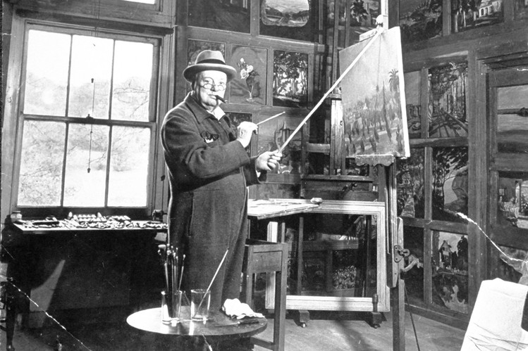 news the art of sir winston churchill   prime minister winston churchill painting in his studio life picture collection